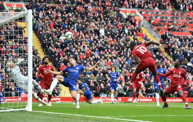 Sadio Mane headed Liverpool into the lead early in the second half. (Credit: Getty Images)