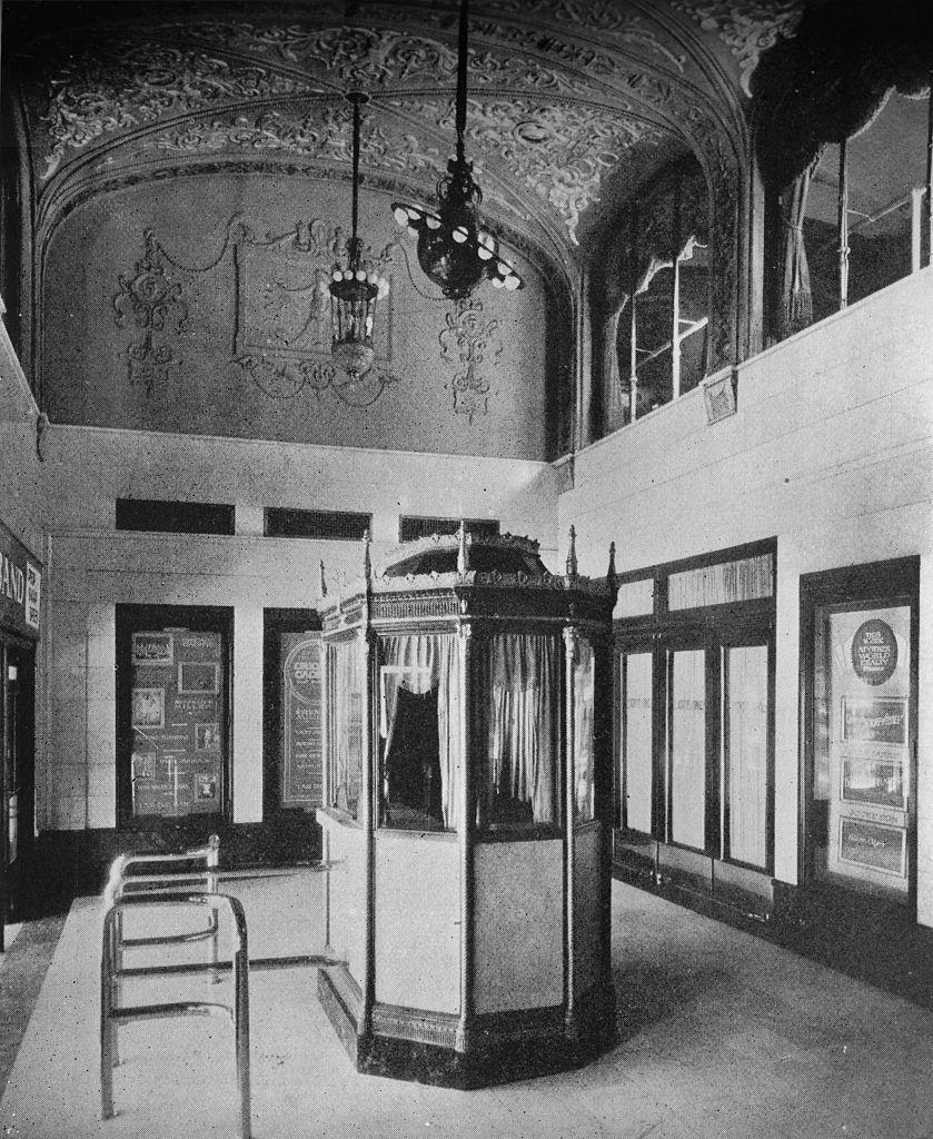 <p>The ticket booth and lobby at the World Theater, a vaudeville theater and cinema which opened in 1922. </p>