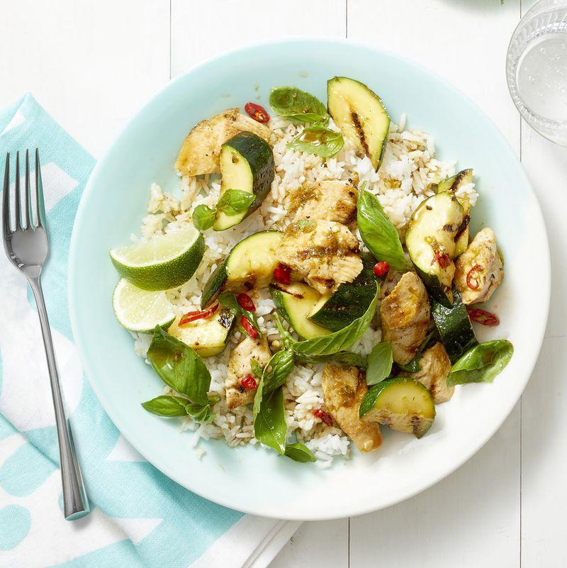 """<p>Lime juice and tons of fresh basil give this 20-minute meal an extra-fresh hit of flavor.</p><p><em><a href=""""https://www.womansday.com/food-recipes/food-drinks/a22690727/grilled-basil-chicken-and-zucchini-recipe/"""" rel=""""nofollow noopener"""" target=""""_blank"""" data-ylk=""""slk:Get the recipe for Grilled Basil Chicken and Zucchini."""" class=""""link rapid-noclick-resp"""">Get the recipe for Grilled Basil Chicken and Zucchini.</a></em></p>"""