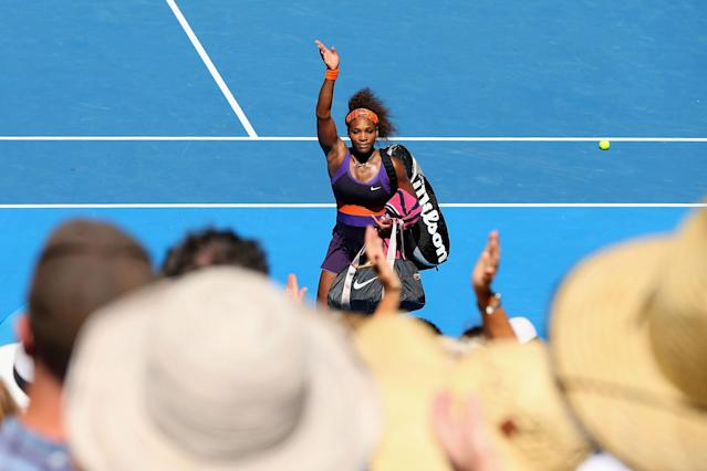 MELBOURNE, AUSTRALIA - JANUARY 23: Serena Williams of the United States of America waves to the crowd after losing her Quarterfinal match against Sloane Stephens of the United States of America during day ten of the 2013 Australian Open at Melbourne Park on January 23, 2013 in Melbourne, Australia. (Photo by Michael Dodge/Getty Images)