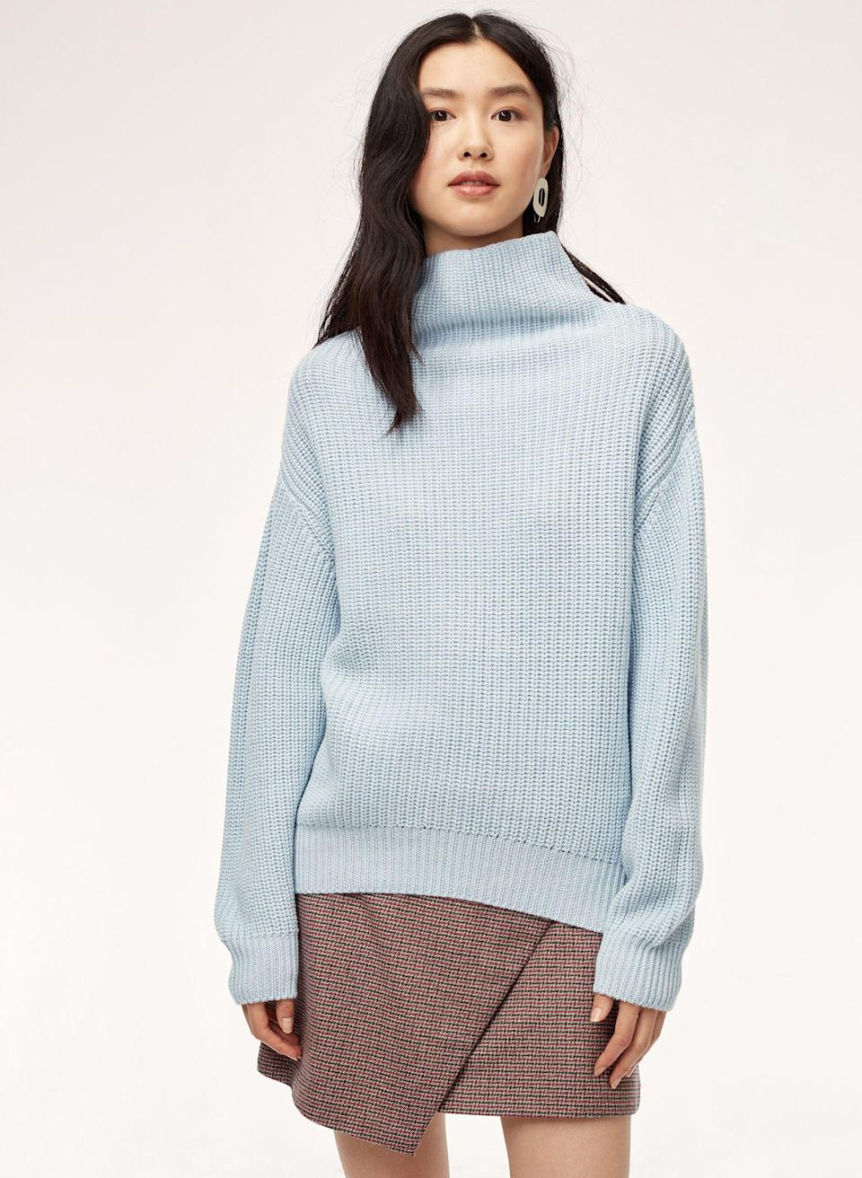 Start out with a sweater in a pretty blue shade.