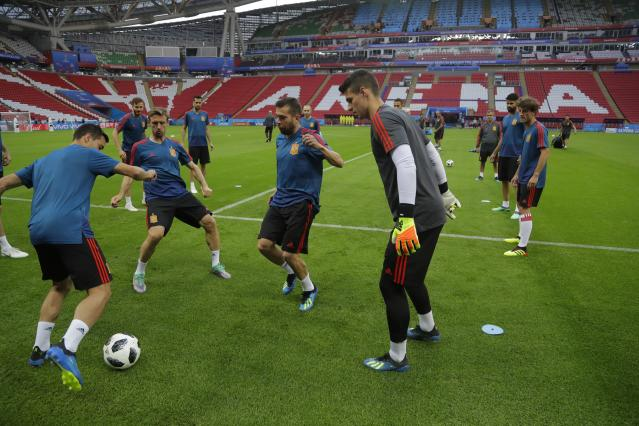 Spanish players practice during the official training on the eve of the group B match between Iran and Spain at the 2018 soccer World Cup in the Fisht Stadium in Kazan, Russia, Tuesday, June 19, 2018. (AP Photo/Sergei Grits)