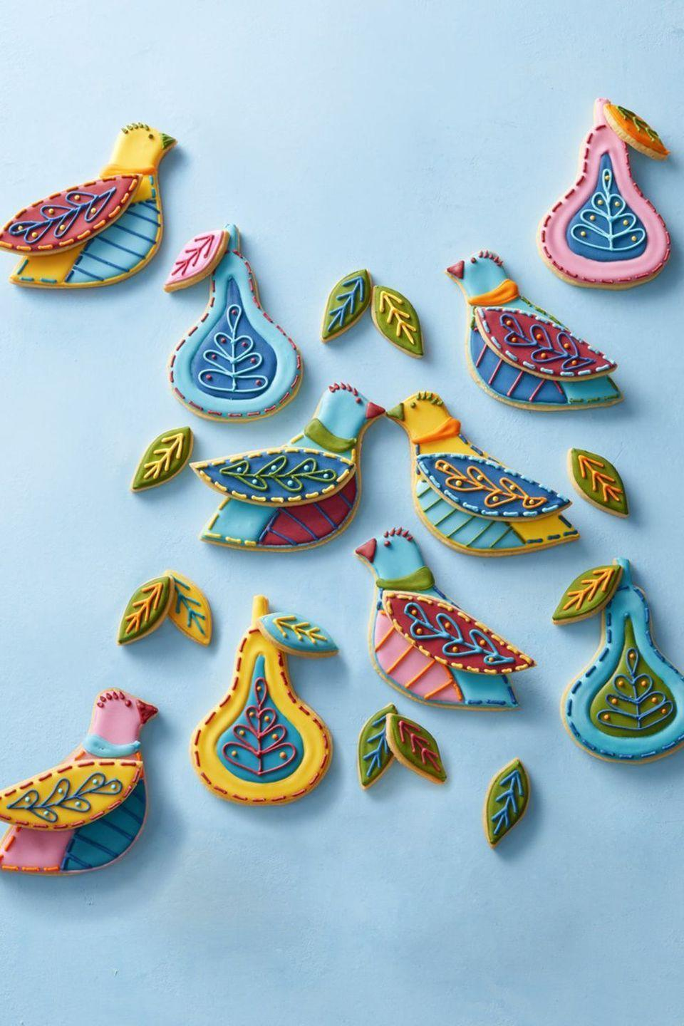 """<p>On the first (or any day) of Christmas, give your true love a plate of colorful cookies.</p><p><em><a href=""""https://www.womansday.com/food-recipes/food-drinks/a25181508/partridge-cookies-recipe/"""" rel=""""nofollow noopener"""" target=""""_blank"""" data-ylk=""""slk:Get the recipe from Woman's Day »"""" class=""""link rapid-noclick-resp"""">Get the recipe from Woman's Day »</a></em></p>"""