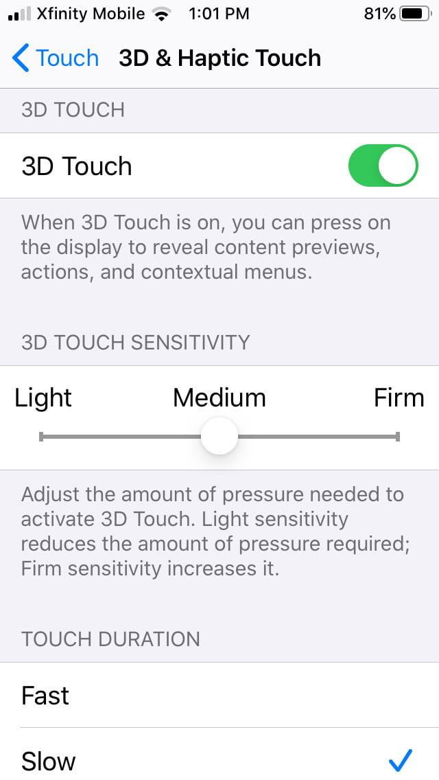 how to disable 3d and haptic touch in ios 13