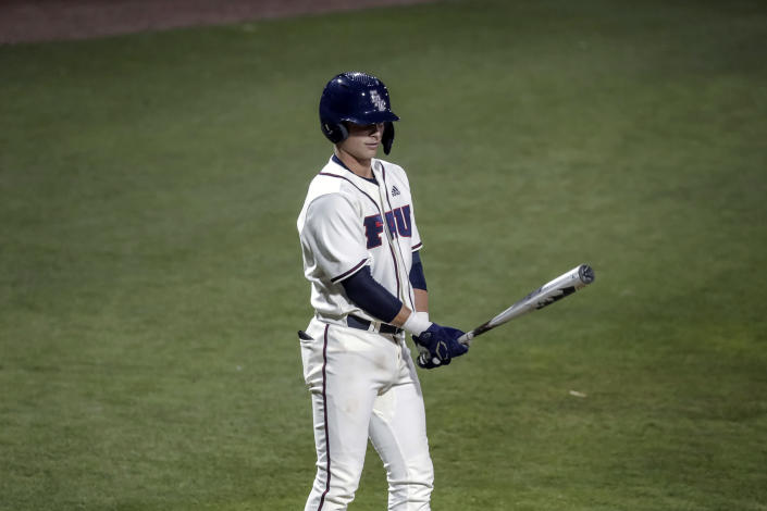 Florida Atlantic freshman catcher Caleb Pendleton prepares to bat in the second inning against UCF on Saturday, Feb. 20, 2021, in Boca Raton, Fla. Pendleton became the eighth Division I player to hit two grand slams in one inning and first to do it in the first two plate appearances of his career. (FAU Athletics via AP)