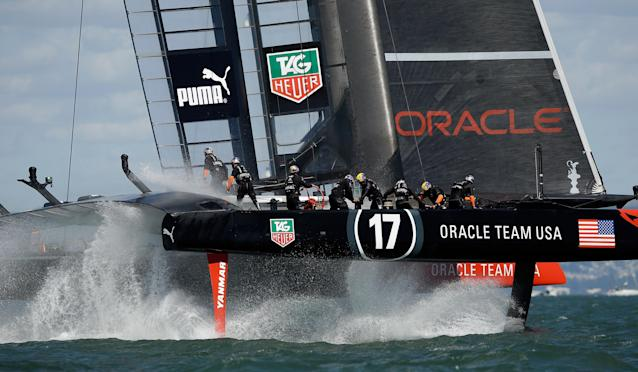 SAN FRANCISCO, CA - SEPTEMBER 25: Oracle Team USA skippered by James Spithill in action against Emirates Team New Zealand skippered by Dean Barker during race 19 of the America's Cup Finals on September 25, 2013 in San Francisco, California. Oracle Team USA won the race to win the America's Cup. (Photo by Ezra Shaw/Getty Images)