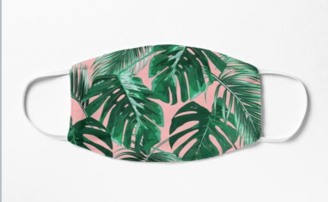 palm tropical print face mask covering pink green