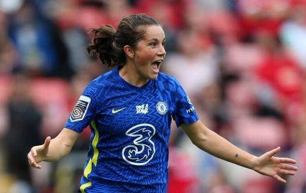London, Ont., native Jessie Fleming scored her first-ever goal in the FA Women's Super League for reigning champions Chelsea on Sunday in Leigh, England. (Alex Livesey/Getty Images - image credit)