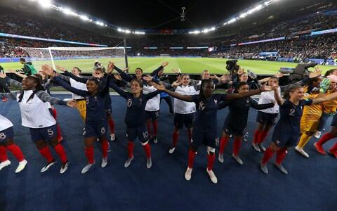 Players of France celebrate following the 2019 FIFA Women's World Cup France group A match between France and Korea Republic at Parc des Princes - Credit:  Joosep Martinson - FIFA/FIFA via Getty Images