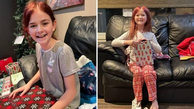 Sophie, 11, and Myla, 7, pictured opening presents at home last Christmas. Their parents say the girls are excited to get open another round of presents on Sunday.