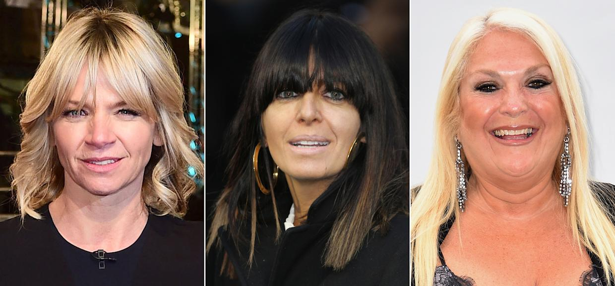 Undated composite file photos of (left to right) Zoe Ball, Claudia Winkleman and Vanessa Feltz, who are among the top 10 highest-paid BBC stars in 2018/19, according to the corporation's latest annual report.