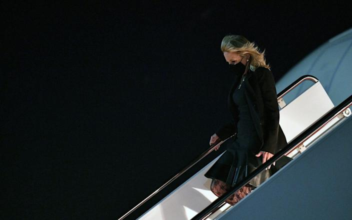 First Lady Jill Biden deplanes upon arrival at Andrews Air Force Base in Maryland - AFP