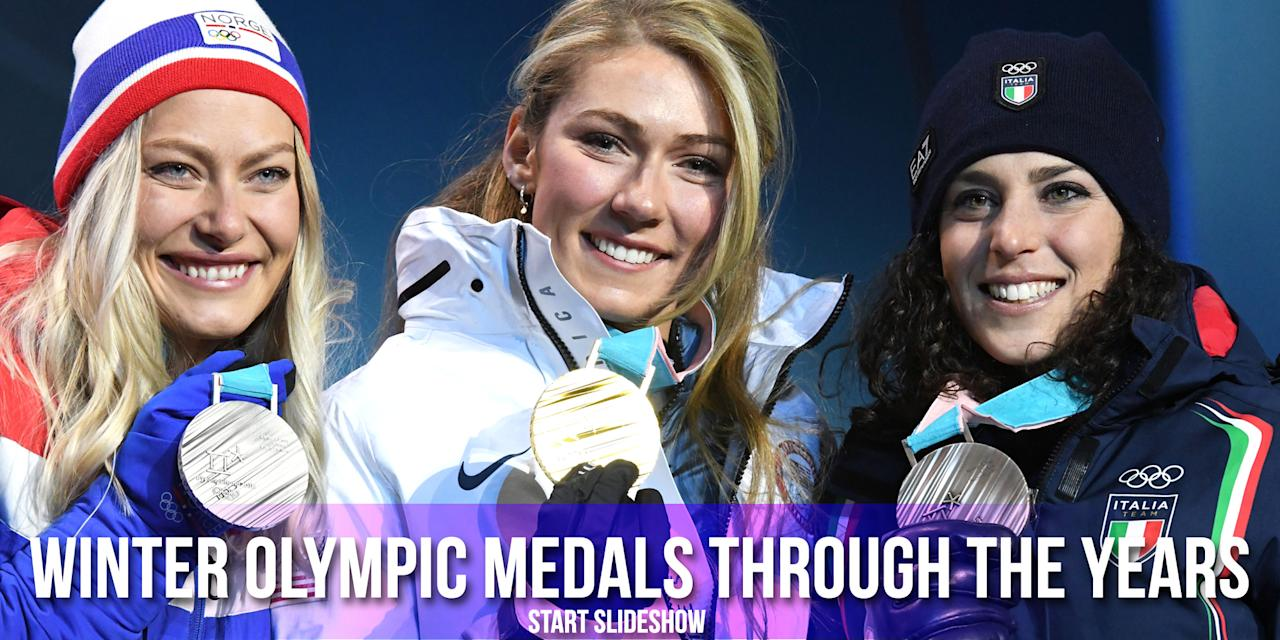 <p>Silver, gold, and bronze medalists for the Women's Alpine Giant Slalom at the 2018 Winter Olympic Games in PyeongChang, South Korea.<br /><br />(L-R: Norway's Ragnhild Mowinckel, silver; USA's Mikaela Shiffrin, gold; Italy's Federica Brignone, bronze/photo by Dimitar Dilkoff/AFP/Getty Images) </p>