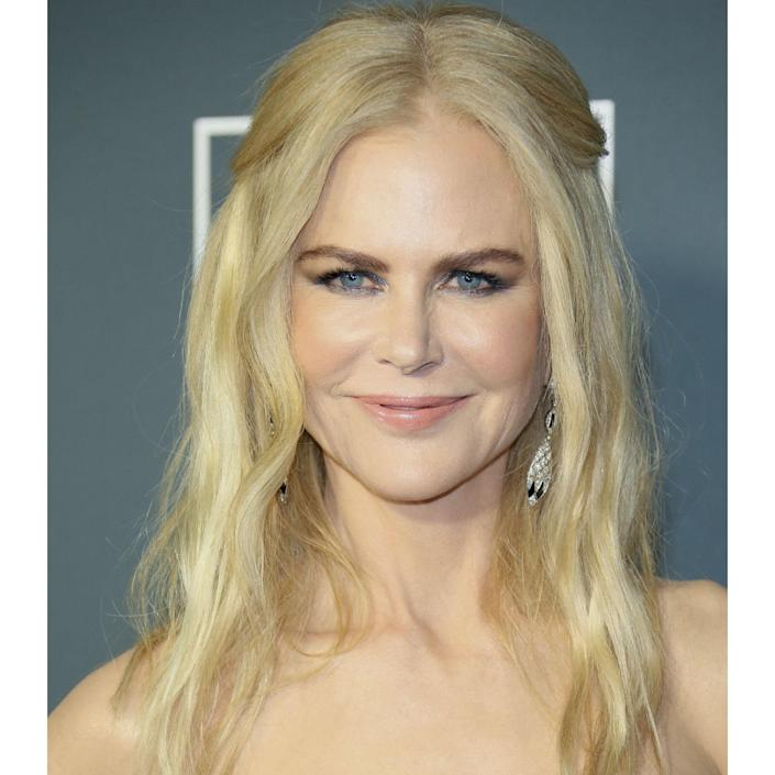 """This snap of Nicole Kidman is a good example of how a yellow-y blonde is not your enemy. You see, if her hair was too white-blonde, there would be no contrast against the cream tone of her skin, and the overall effect could be pretty monochromatic. """"When hair colors are too stark or clean on this type of skin tone, it highlights all the natural imperfections and looks very hard,"""" says Reid. """"Nicole looks best with natural golds and soft warm overtones. This tone is perfect for her."""""""