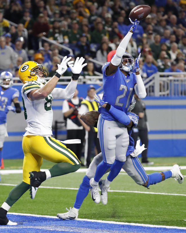 Detroit Lions free safety Tracy Walker (21) deflects a pass intended for Green Bay Packers tight end Jimmy Graham (80) during the second half of an NFL football game, Sunday, Dec. 29, 2019, in Detroit. (AP Photo/Rick Osentoski)