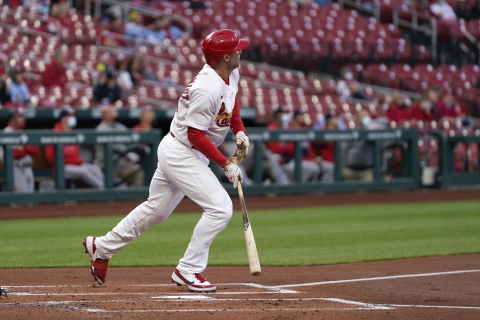 St. Louis Cardinals' Paul Goldschmidt watches his solo home run during the first inning of a baseball game against the Washington Nationals Tuesday, April 13, 2021, in St. Louis. (AP Photo/Jeff Roberson)