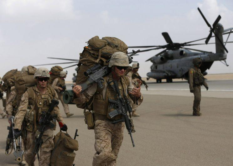 Marines preparing to leave Helmand, Afghanistan, in October 2014