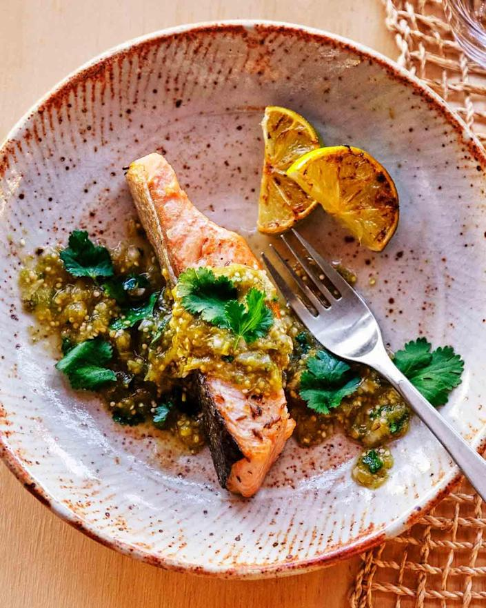 Casilla's crispy salmon with tomatillo salsa is a tribute to her father's Mexican heritage and Indigenous foodways.