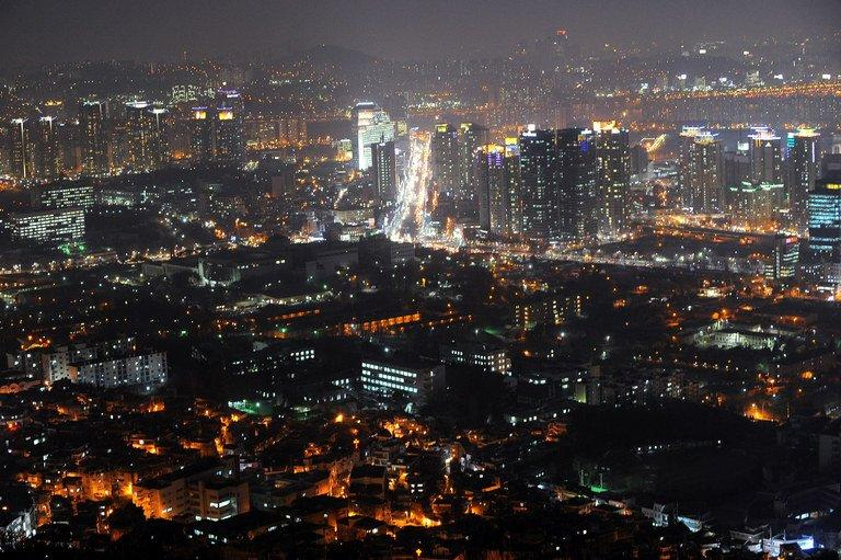 General view of Seoul at night, as seen from the N Seoul Tower on the top of Nam mountain, on February 22, 2010
