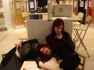 Two ladies looking asleep or dead at IKEA