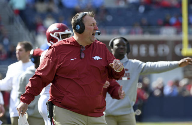 Friday's game against Missouri will likely be Bret Bielema's last at Arkansas. (AP Photo/Thomas Graning, File)