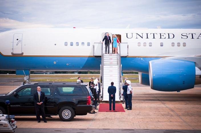 Vice President of the United States Joe Biden and his wife Dr. Jill Biden arrive at the Brasília Air Base on Air Force Two and visit the U.S. Embassy of Brazil on Thursday, May 30, 2013.