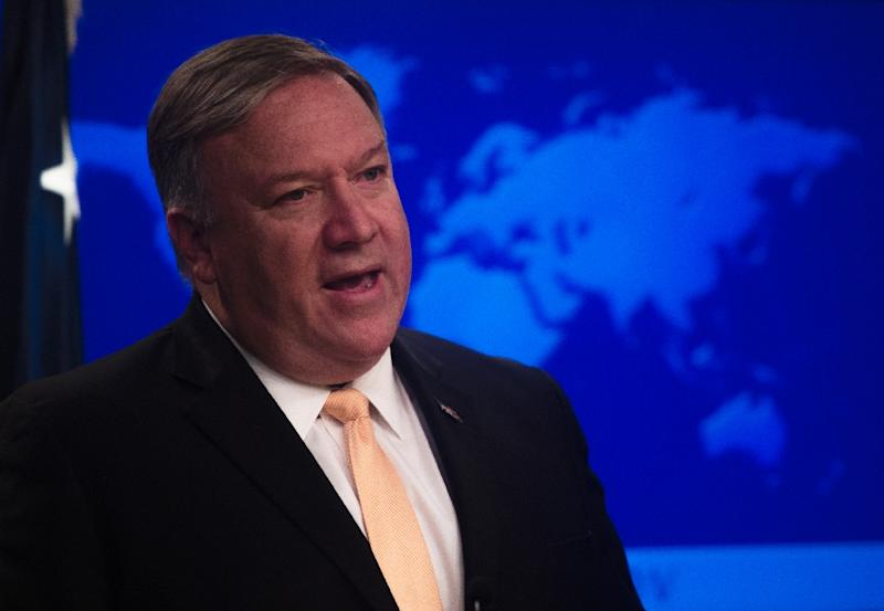 US Secretary of State Mike Pompeo is marking one year serving in the turbulent Trump administration (AFP Photo/ANDREW CABALLERO-REYNOLDS)