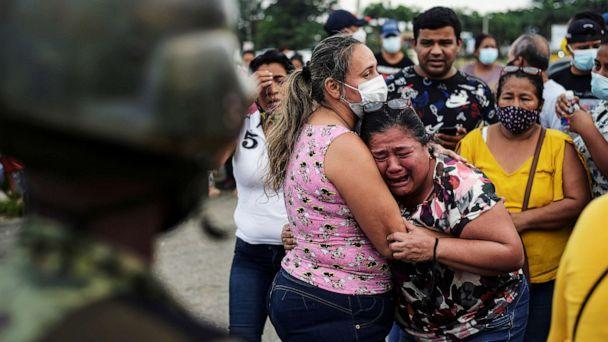 PHOTO: A woman reacts outside a prison where inmates were killed during a riot that the government described as a concerted action by criminal organizations, in Guayaquil, Ecuador, Feb. 23, 2021. (Vicente Gaibor del Pino/Reuters)