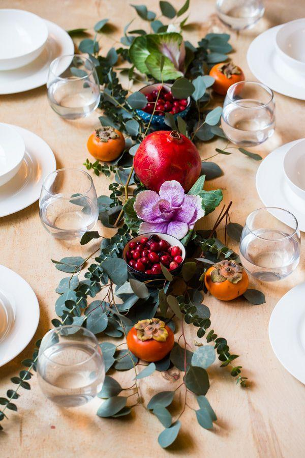 """<p>Pick up some rich red fruits and berries during your grocery store haul for Christmas dinner, pair it with fresh or faux eucalyptus, and consider your holiday table decorating done.<strong><br></strong></p><p><strong>Get the tutorial at <a href=""""https://www.abeautifulplate.com/15-minute-diy-holiday-centerpiece/"""" rel=""""nofollow noopener"""" target=""""_blank"""" data-ylk=""""slk:A Beautiful Plate"""" class=""""link rapid-noclick-resp"""">A Beautiful Plate</a>.</strong></p><p><strong><a href=""""https://www.amazon.com/PARTY-JOY-Artificial-Eucalyptus-Greenery/dp/B07H321CMG/"""" rel=""""nofollow noopener"""" target=""""_blank"""" data-ylk=""""slk:SHOP EUCALYPTUS GARLAND"""" class=""""link rapid-noclick-resp"""">SHOP EUCALYPTUS GARLAND</a><br></strong></p>"""