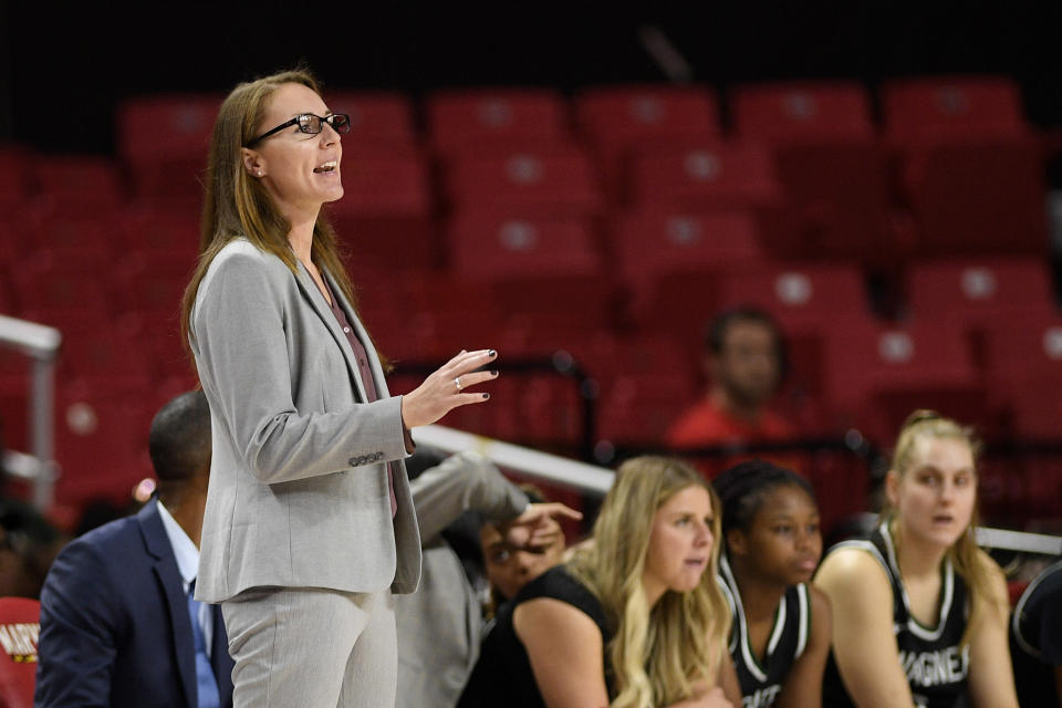 Wagner head coach Heather Jacobs gestures during the second half of the team's NCAA college basketball game against Maryland, Tuesday, Nov. 5, 2019, in College Park, Md. Maryland won 119-56. (AP Photo/Nick Wass)