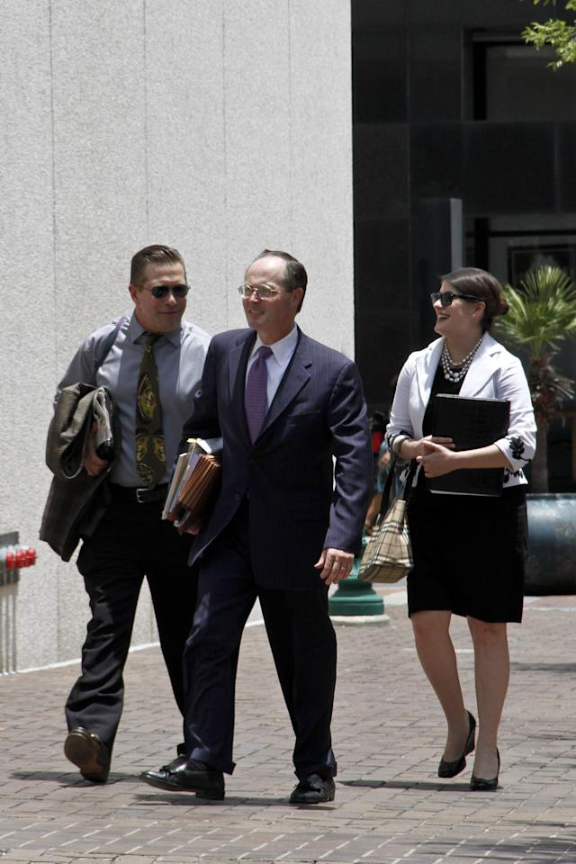 NEW ORLEANS, LA - JUNE 05: Actor Stephen Baldwin arrives with members of his legal team at the U.S. District Court Eastern District Of Louisiana on June 5, 2012 in New Orleans, Louisiana.  Stephen Baldwin & Spyridon Contogouis are suing Kevin Costner, Patrick Smith, WestPac Resources, LLC & Rabobank, N.A. for misrepresentation in connection with the sale of stock in a company that made oil spill cleanup machines prior to BP placing a $52 million order for the technology. (Photo by Monica McKlinski/Getty Images)