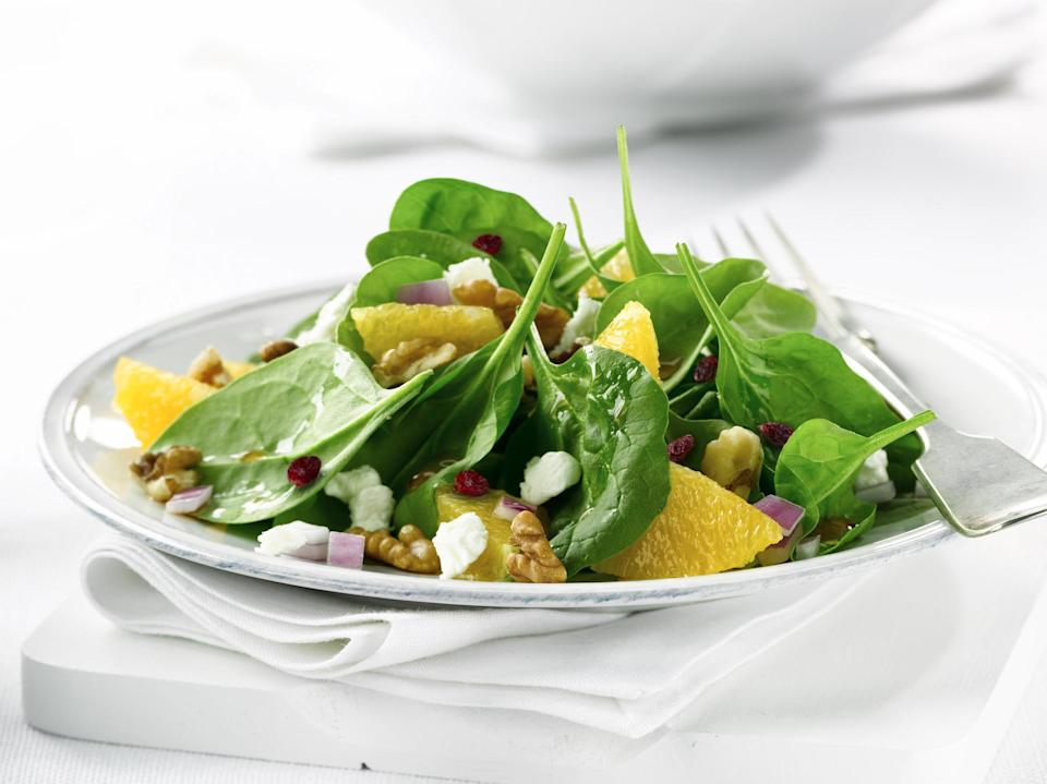"""<p>This simple spinach salad with a homemade vinaigrette and plenty of tangerines is a great side dish for any meal but can also work as a base for <a href=""""https://www.thedailymeal.com/cook/grilled-chicken-mistakes-gallery?referrer=yahoo&category=beauty_food&include_utm=1&utm_medium=referral&utm_source=yahoo&utm_campaign=feed"""" rel=""""nofollow noopener"""" target=""""_blank"""" data-ylk=""""slk:grilled chicken"""" class=""""link rapid-noclick-resp"""">grilled chicken</a> or <a href=""""https://www.thedailymeal.com/recipes/grilled-shrimp-cilantro-chili-sauce-recipe?referrer=yahoo&category=beauty_food&include_utm=1&utm_medium=referral&utm_source=yahoo&utm_campaign=feed"""" rel=""""nofollow noopener"""" target=""""_blank"""" data-ylk=""""slk:shrimp"""" class=""""link rapid-noclick-resp"""">shrimp</a>.</p> <p><a href=""""https://www.thedailymeal.com/recipes/spinach-salad-tangerine-rosemary-vinaigrette-recipe?referrer=yahoo&category=beauty_food&include_utm=1&utm_medium=referral&utm_source=yahoo&utm_campaign=feed"""" rel=""""nofollow noopener"""" target=""""_blank"""" data-ylk=""""slk:For the Spinach Salad With Tangerine-Rosemary Vinaigrette recipe, click here."""" class=""""link rapid-noclick-resp"""">For the Spinach Salad With Tangerine-Rosemary Vinaigrette recipe, click here.</a></p>"""