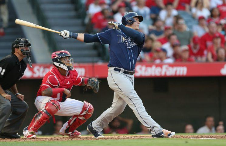 Logan Morrison turned a pretty swing into an exceptional bat flip. (Getty Images)