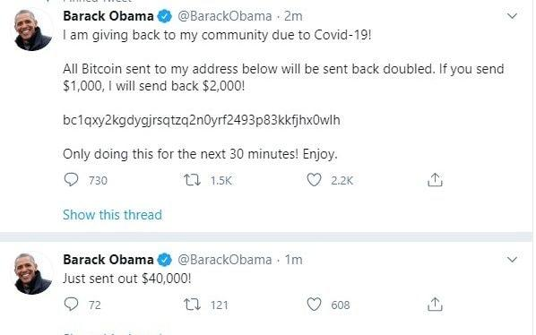 Screen grab taken from the twitter account of former US president Barack Obama after a number of high-profile Twitter accounts, including those of Joe Biden, Elon Musk and Kanye West, were hacked - Twitter/PA