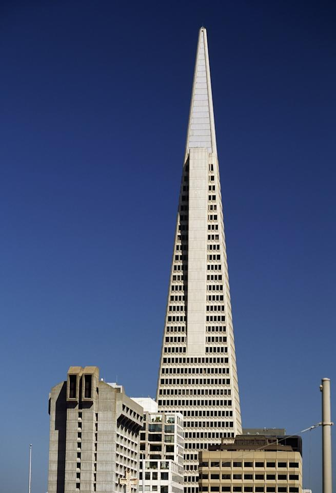 """The futurist building that fills out San Francisco's skyline was built in 1972 and has become symbolic of the Golden City. William Pereira designed the landmark and placed a """"Crown Jewel"""" at its peak which illuminates on holidays and days of remembrance."""