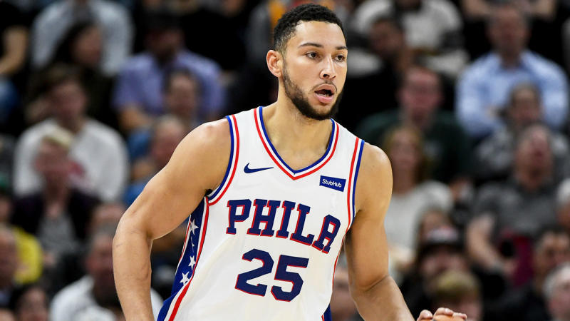 Ben Simmons injured his shoulder in the 76ers loss to the Jazz. (Getty Images)