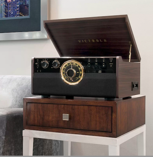 6-in-1 Wood Empire Bluetooth Record Player with 3-Speed Turntable
