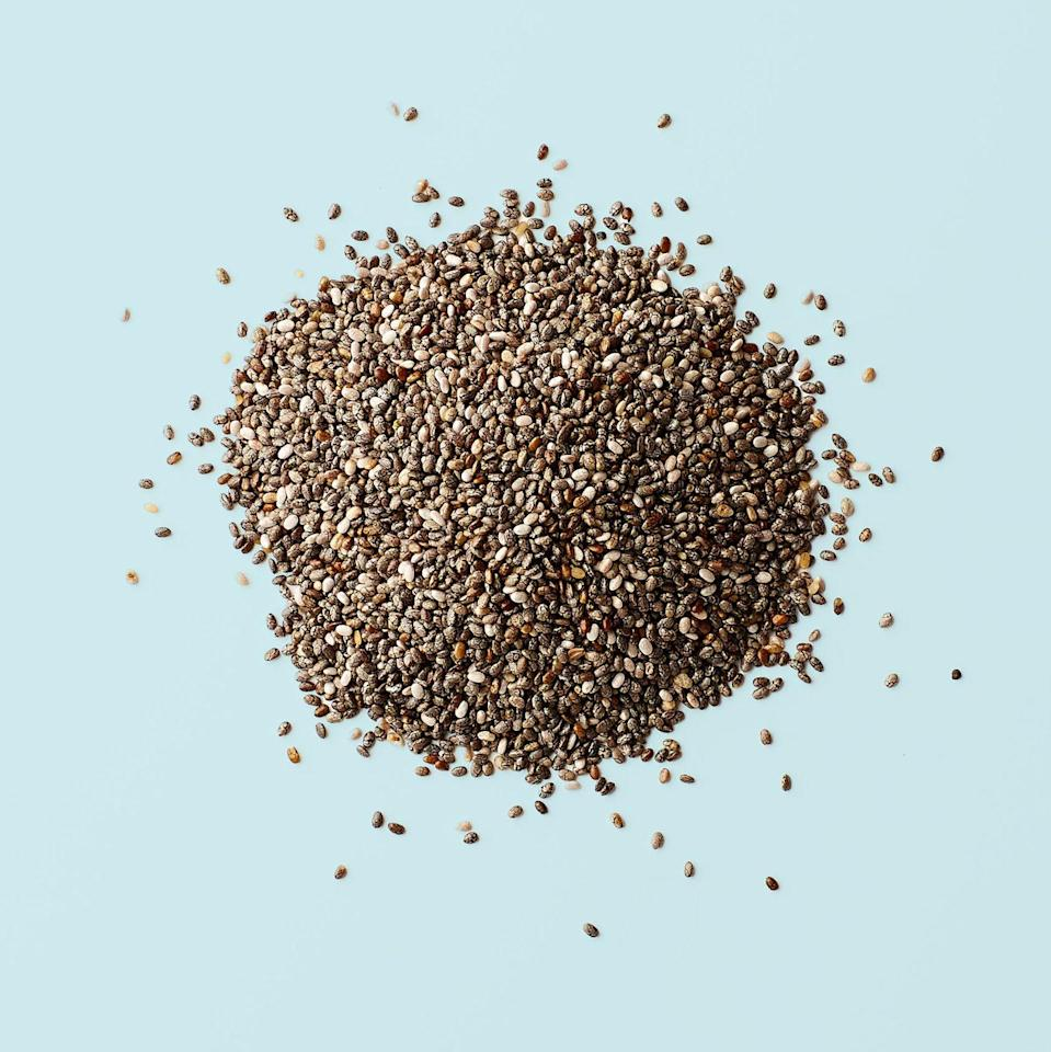 "<p>Chia seeds got their superfood-status for many reasons, but one is that they're <a href=""https://www.redbookmag.com/food-recipes/g2813/fiber-foods/?slide=26"" rel=""nofollow noopener"" target=""_blank"" data-ylk=""slk:full of fiber"" class=""link rapid-noclick-resp"">full of fiber</a>. ""The soluble fiber acts like a sponge, soaking up cholesterol, while the insoluble fiber works like a broom, sweeping the intestines clean,"" says <a href=""https://dawnjacksonblatner.com/"" rel=""nofollow noopener"" target=""_blank"" data-ylk=""slk:Dawn Jackson Blatner"" class=""link rapid-noclick-resp"">Dawn Jackson Blatner</a>, RD.</p><p><strong>RELATED: </strong><a href=""https://www.redbookmag.com/beauty/makeup-skincare/tips/a50150/foods-for-healthy-skin/"" rel=""nofollow noopener"" target=""_blank"" data-ylk=""slk:8 Foods That Should Always Be in Your Fridge If You Want Healthy Skin"" class=""link rapid-noclick-resp""><strong>8 Foods That Should Always Be in Your Fridge If You Want Healthy Skin</strong></a></p>"