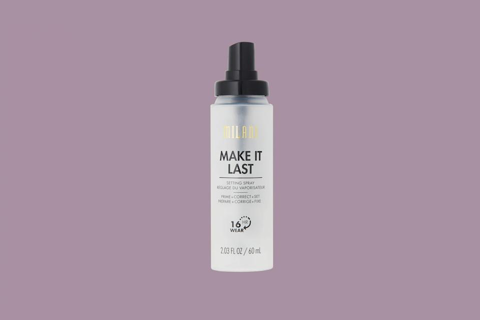 "<p>If you have limited counter space, you'll love this primer that multi-tasks as a corrector and setting spray. When you spray it on prior to makeup application, it brightens, illuminates, and helps makeup adhere to the skin. When applied after makeup, it locks products in place for up to 12 hours.</p> <p><strong><em>Shop Now: </em></strong><em>Milani ""Make It Last"" Prime + Correct + Set Makeup Setting Spray, $9, <a href=""https://goto.target.com/c/249354/81938/2092?subId1=MSLTheBestFacePrimersforSmoothEvenMakeupApplicationsbamseyBeaGal7987429202009I&u=https%3A%2F%2Fwww.target.com%2Fp%2Fmilani-make-it-last-prime-correct-set-makeup-setting-spray-2-03-oz%2F-%2FA-51180299"" rel=""nofollow noopener"" target=""_blank"" data-ylk=""slk:target.com"" class=""link rapid-noclick-resp"">target.com</a></em><em>.</em></p>"