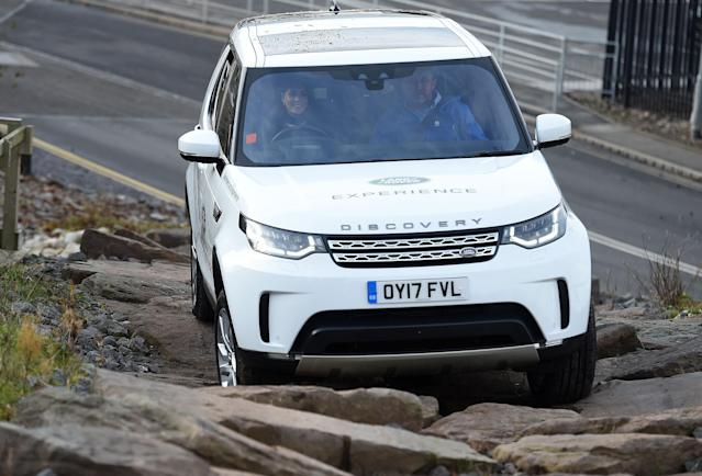 A pregnant Kate got behind the wheel for an off-road experience. (Photo: PA)