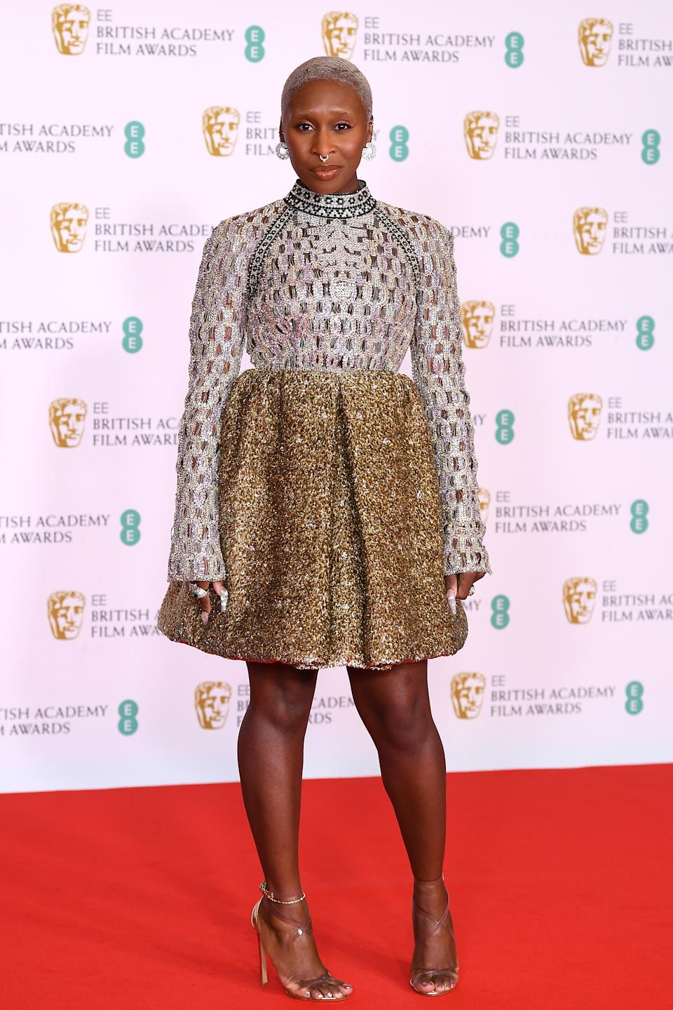 LONDON, ENGLAND - APRIL 11: Awards Presenter Cynthia Erivo attends the EE British Academy Film Awards 2021 at the Royal Albert Hall on April 11, 2021 in London, England. (Photo by Jeff Spicer/Getty Images)