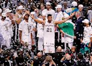 <p>2014: Tim Duncan #21 of the San Antonio Spurs celebrates after defeating the Miami Heat in Game Five of the 2014 NBA Finals at the AT&T Center on June 15, 2014 in San Antonio, Texas.</p>
