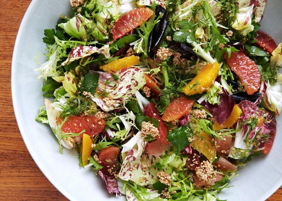 """Think of the crunchy, granola-ish sesame clusters as seedy croutons for this juicy and bracing salad. <a href=""""https://www.bonappetit.com/recipe/citrus-salad-with-fennel-vinaigrette?mbid=synd_yahoo_rss"""" rel=""""nofollow noopener"""" target=""""_blank"""" data-ylk=""""slk:See recipe."""" class=""""link rapid-noclick-resp"""">See recipe.</a>"""