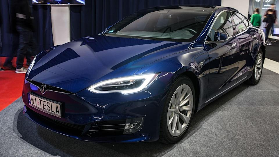 Nadarzyn, Poland, October 27, 2017: The blue metallic Tesla Model S 75D at the Warsaw Motor Show, produced by the American automaker Tesla, major shareholder Elon Musk - Image.