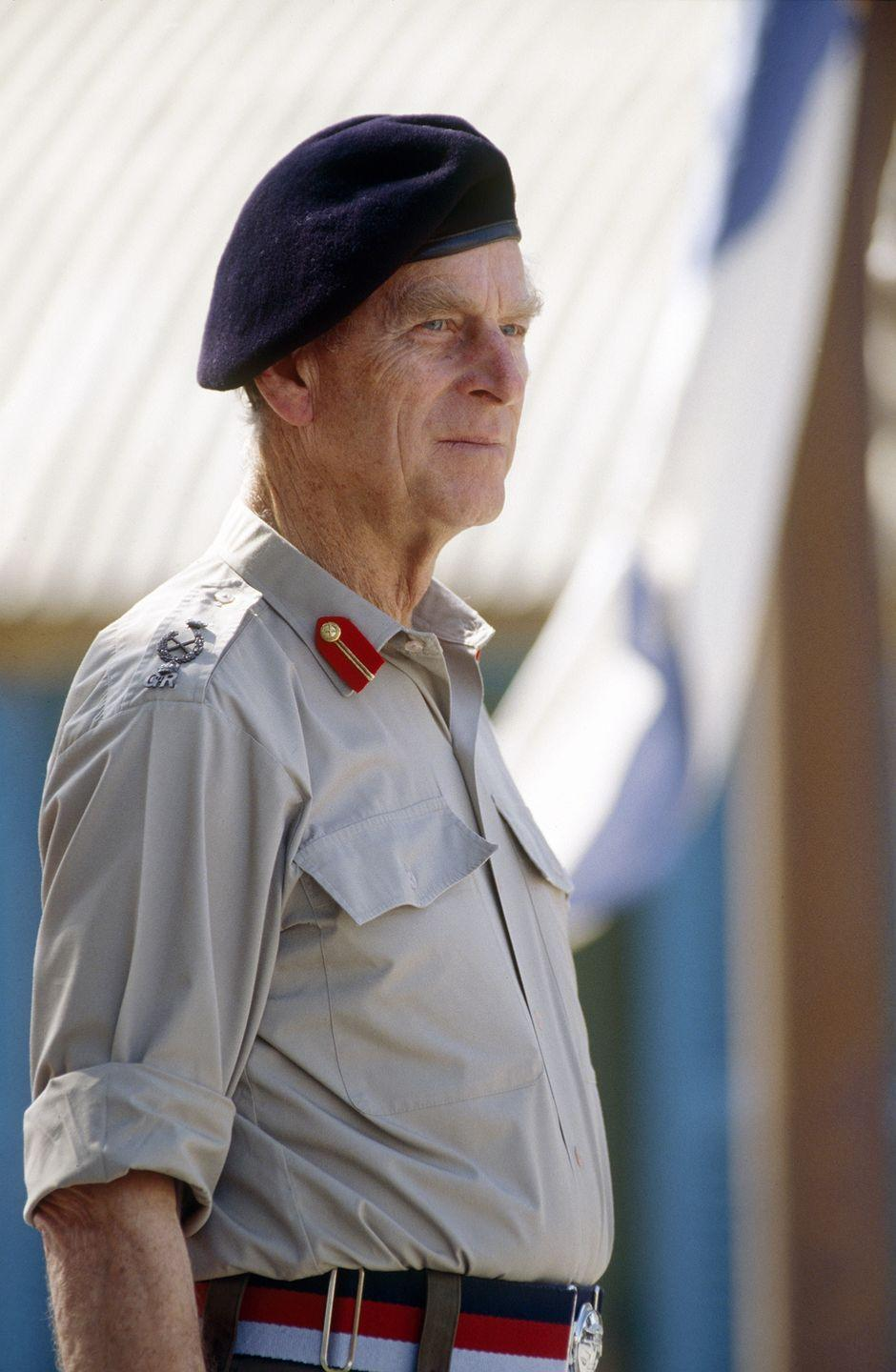 """<p><a href=""""https://www.goodhousekeeping.com/uk/news/a564867/prince-philip-and-prince-harry-similarities/"""" rel=""""nofollow noopener"""" target=""""_blank"""" data-ylk=""""slk:Prince Philip"""" class=""""link rapid-noclick-resp"""">Prince Philip</a> on Lara Beach, Turkey, donning a more relaxed army uniform. </p>"""