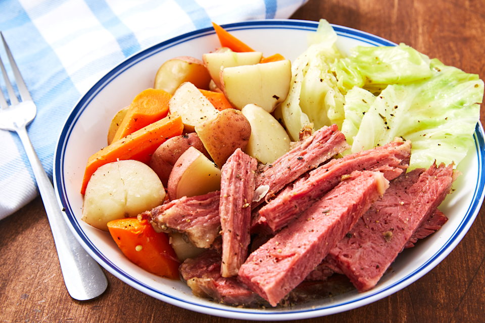 """<p>Honestly, boiled dinner is just another way of saying corned beef and cabbage.</p><p>Get the recipe from <a href=""""https://www.delish.com/cooking/recipe-ideas/a26258638/easy-boiled-dinner-recipe/"""" rel=""""nofollow noopener"""" target=""""_blank"""" data-ylk=""""slk:Delish"""" class=""""link rapid-noclick-resp"""">Delish</a>.</p>"""