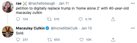 Home Alone star Macaulay Culkin appeared to approve of suggestion he should replace Trump in the scene. Photo: Twitter.