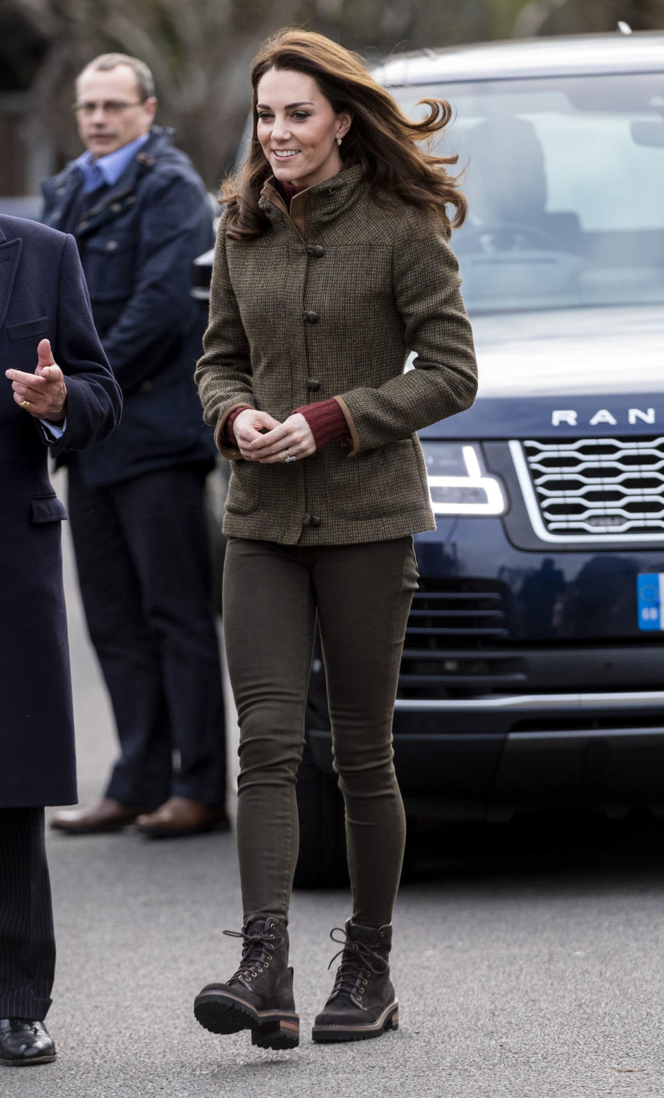 For her first solo engagement of 2019, the Duchess of Cambridge visited King Henry's Walk, a community garden in Islington. Ready for the great outdoors, the 37-year-old wore the Bracken Tweed jacket by Dubarry with a J Crew roll neck and Zara trousers. [Photo: Getty]