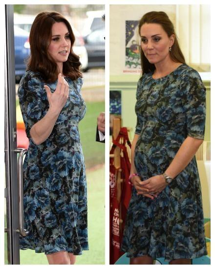 Kate's been wearing dresses and coats she's worn while she was pregnant with George and Charlotte. Photo: Getty