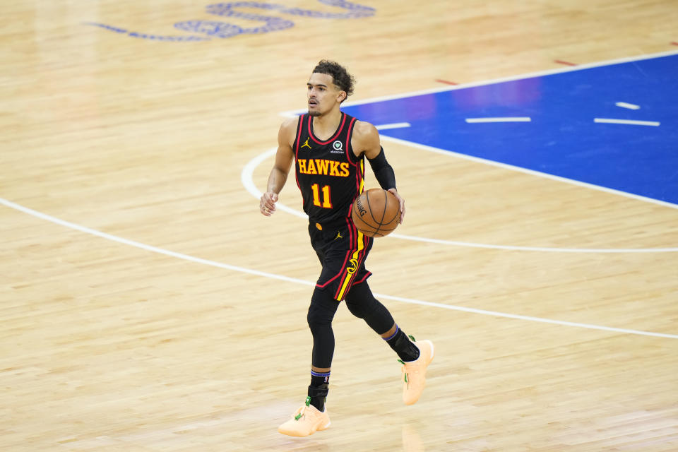 Atlanta Hawks' Trae Young plays during Game 7 in a second-round NBA basketball playoff series against the Philadelphia 76ers, Sunday, June 20, 2021, in Philadelphia. (AP Photo/Matt Slocum)